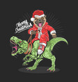 christmas santa claus pug dog riding a rex vector image vector image