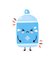 cute sad cry antiseptic spray bottle vector image vector image