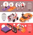 daily routine couple isometric banners vector image vector image