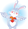 darling rabbit with wings vector image vector image