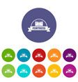 emblem fortress icons set color vector image vector image