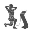 ems training girl doing squats in suit vector image vector image