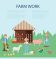 farmer working at farm caring for pig goat vector image