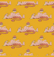fat cat with burger seamless pattern vector image vector image