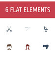 flat icons blow-dryer blade shears and other vector image