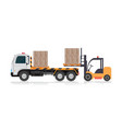 forklift loading a truck vector image vector image