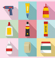 glue stick adhesive icons set flat style vector image vector image