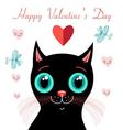 graphics funny love with a kitten vector image vector image