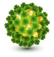 green clover leaves and gold coins ball vector image vector image