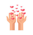 hands and hearts vcector icon for charity and vector image vector image