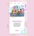 happy family meeting cartoon web banner vector image vector image