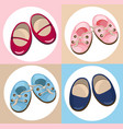 kids shoes cute set collection colorful vector image