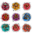 old school tattoo roses set vector image vector image