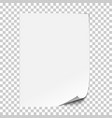 realistic paper sheet with folded corner vector image vector image