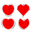 red heart paper stickers with shadows vector image