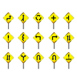 Road sign set warning vector image vector image