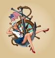 sailor girl us navy pin-up girl version vector image