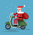 santa going on a scooter vector image vector image
