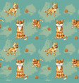 seamless pattern of cartoon ginger cats on vector image vector image