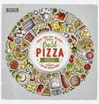 set of dpizza cartoon doodle objects symbols vector image vector image