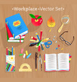 set of education supplies vector image vector image