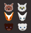 set of wild animals stickers vector image vector image