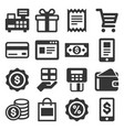 shopping icons set on white background vector image vector image