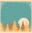 Snow winter card on old poster vector image vector image