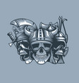 three skulls roman barbarian and slav vector image