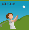 woman golfer playing in golf club vector image vector image