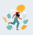 woman running make anouncment on white speech vector image