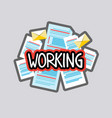 working sticker social media network message vector image vector image