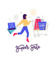 young woman on shopping black friday concept girl vector image vector image