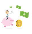young business man holding phone and ride pink vector image