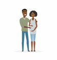 african couple expecting a baby - cartoon people vector image