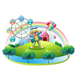 An island with an amusement park vector image vector image
