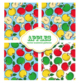 Apple colored doodle seamless pattern vector image vector image