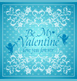 blue valentines day background card with cupid vector image vector image