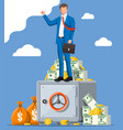 businessman standing on safe box vector image