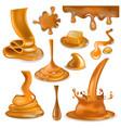 caramel splash sweet flowing liquid sauce vector image