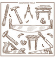 carpentry tools sketch icons set vector image