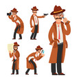 cartoon private detective police inspector vector image vector image