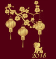 chinese new year the year 2018 is the year of the vector image