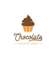 chocolate cupcake logo design vector image