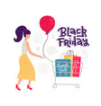 colorful female sale character isolated on white vector image vector image