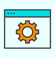 Computer settings line icon gear pictogram vector image