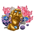 Coral reef and Golden statue of the deity Maya vector image vector image