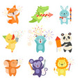 cute animals with party poppers set lovely vector image