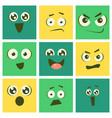 cute kawaii emoticons set emoji squares vector image