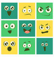 cute kawaii emoticons set emoji squares with vector image vector image
